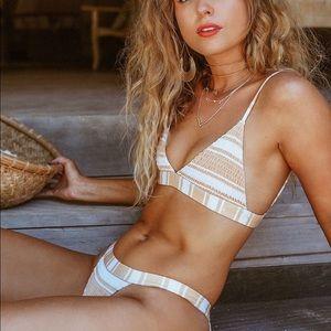 Cabana Yellow Striped Smocked Triangle Bikini Top